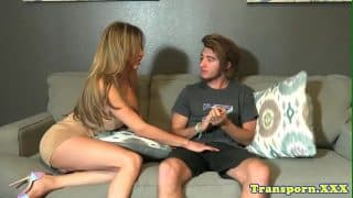 Busty transsexual assfucked by male lover